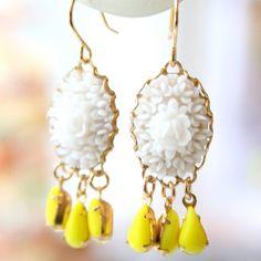 White Rose Chandelier Earrings by NestPrettyThingsShop on Etsy, $25.00