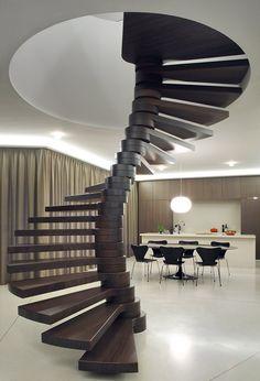 VILLA MOERKENSHEIDE BY DIETER DE VOS ARCHITECTEN - wooden stair