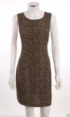PATRICIA JONES SLEEVELESS SCOOP NECK KNEE LENGTH LEOPARD PRINT SLIP DRESS SZ 10