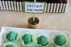 Lettuce oreo truffle balls with green wrappers like lettuce leaves, super cute idea!