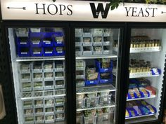 Hops & Yeast fridge @ Windsor Homebrew Supply Co. in Costa Mesa, CA Home Brew Shop, Beer Ingredients, Home Brew Supplies, How To Make Beer, Home Brewing, Windsor, Costa, Home Brewing Beer