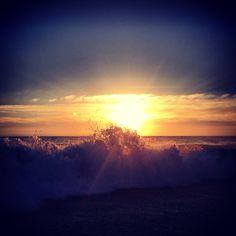 Aliso beach in Laguna Beach, CA sunset n waves