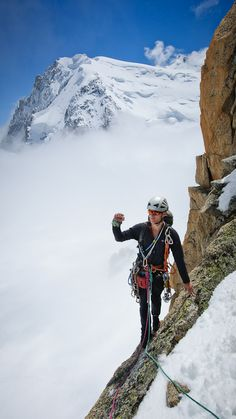 James Monypenny on top of the Cosmiques Spur, Chamonix, France #climb