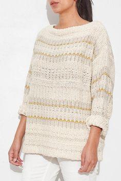 Cream Fringe Back Pullover by NSF