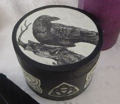 Black Round Raven Box with Magnetic by DragonStarCreations1, $16.00