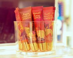 """Fall lipglosses from Bath and Bodyworks. The lipgloss version of their """"Fall Tradition's"""" fragrance line."""