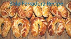 Bolo Ferradura is a traditional festive bread from Portugal usually served as a wedding gift to guests by the bride, to bring good luck and prosperity. But I remember best from the monthly fair at… Portuguese Bread, Portuguese Recipes, Bread Recipes, Baking Recipes, Festive Bread, Food Names, Artisan Bread, Sweet Bread, Original Recipe
