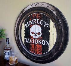 Harley-Davidson Raised Tire with Skull Logo