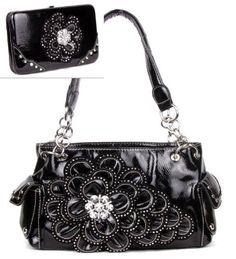 Black Rhinestone Flower Pocket Purse W Matching Wallet