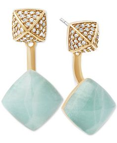 Michael Kors Stone and Pavé Front and Back Earrings