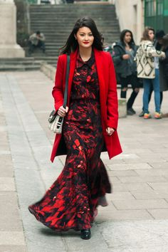 Streetstyle: Printed maxi dress