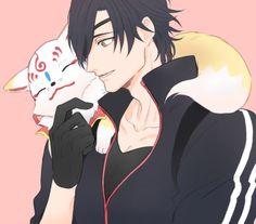 光忠の肩に乗るこんのすけ Anime Chibi, Blood Hunter, Sengoku Basara, Handsome Anime Guys, Kuroo, Anime Figures, I Love Anime, Touken Ranbu, Character Design