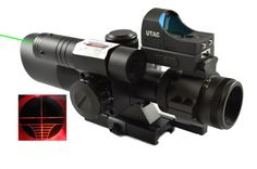 UTAC® Tactical 2.5-10X40/Scope with Green Laser Sight & Red Dot Sight Combo & QD
