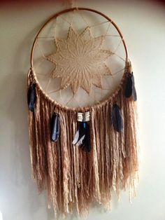 Custom Handmade Native American Indian Style Large Dreamcatcher Boho Bohemian Gypsy Rustic Country Feminine Wall Hanging