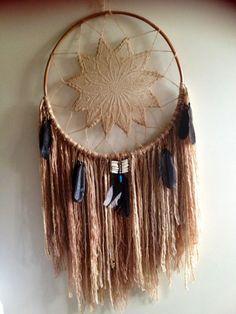 Custom Handmade Native American Indian Style Large Dreamcatcher Boho Bohemian Gypsy Rustic Country Feminine Wall Hanging