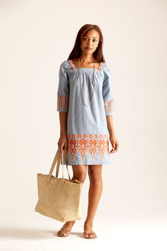 Embroidered Dress..... could wear boots with it in the fall & a scarf, change the bag to a fall color & it's good!