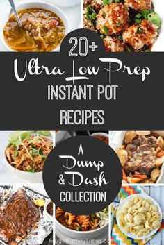 A roundup of instant pot recipes that are almost no or very low in prep time. Fast, easy and family friendly. Delicious dump and dash pressure cooker recipes make making dinner simple when life gets complicated. Included are chili, pasta, tacos, curry Slow Cooker Recipes, Crockpot Recipes, Cooking Recipes, Healthy Recipes, Simple Recipes, Fast Recipes, Easy Pressure Cooker Recipes, Veg Recipes, Recipes