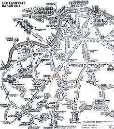 Map of trams, central London, Brixton and south London