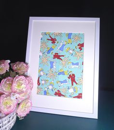 Cheerful Dancer-Musician on the Palm Beach-Blue Ground-Red