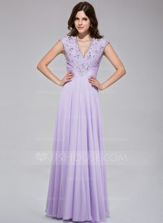 A-Line/Princess V-neck Floor-Length Chiffon Prom Dress With Ruffle Lace Beading Sequins (018025512)
