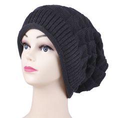 Black Knitted Crochet Slouch hat