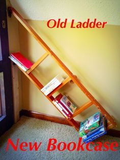 playroom/ loft bookcase made from repurposed bunk bed ladder