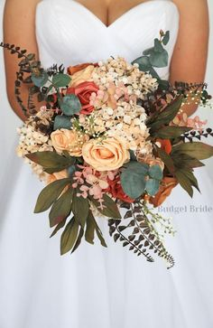 Make your bohemian wedding dreams come true with this unique personalized brides bouquet made with terracotta, champagne, rust, burnt orange and fern Fall Wedding Bridesmaids, Boho Wedding Bouquet, Bridal Bouquet Fall, Fall Bouquets, Bride Bouquets, Bridesmaid Bouquet, Floral Wedding, Wedding Floral Arrangements, Bohemian Wedding Flowers