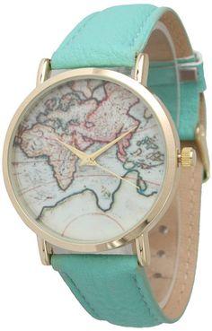 db041c8bd2d3 World Map Leather Strap Watch Bracelet Watch
