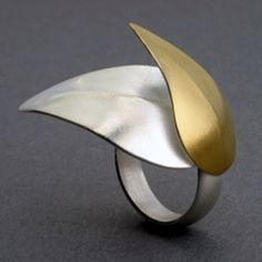 "Lynn Christiansen: Falling Leaves Ring, In sterling silver and 22k gold bimetal. Leaves measure 1.5"" across. Size 7 (may be sized to fit)"