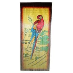 Bamboo54 Parrot scene is made from authentic bamboo and hand strung.  One curtain contains 90 strands across and is the perfect door hanging accessory.  Hand painted on both sides. Measures approximately 36' x 80