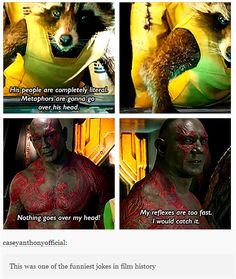 "Guardians of the Galaxy. One of the best Marvel movies I've ever seen. This quote is funny by the big guy. ""My reflexes are to fast, I would catch it. Marvel Dc, Memes Marvel, Dc Memes, Marvel Funny, Avengers Quotes, Avengers Imagines, Dc Comics Funny, Funny Avengers, Marvel Facts"
