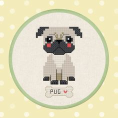 Cute Pug Dog Cross Stitch Pattern PDF Instant by andwabisabi