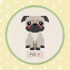 Cute Pug Dog Cross Stitch Pattern PDF Instant by andwabisabi