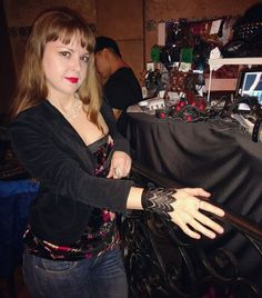Customer wearing our leather fashion accessory at the Pig 'n Whistle art show karaoke night!