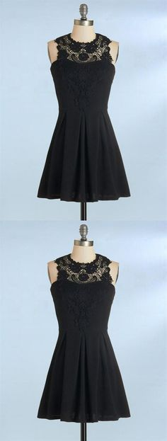 9774776466be1 Simple Black A Line Cocktail Dresses Sleeveless Affordable Homecoming  Dresses