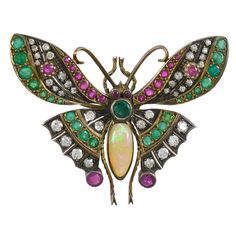 Antique Jeweled Butterfly Pin | From a unique collection of vintage brooches at https://www.1stdibs.com/jewelry/brooches/brooches/