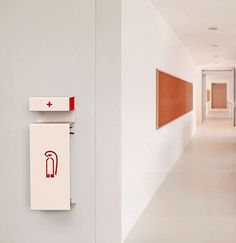 FIREふぁいやぁ~~ Office Signage, Wayfinding Signage, Signage Design, Fire Extinguisher Bracket, White Wooden Box, Building Signs, Prop Design, Creative Walls, House Built