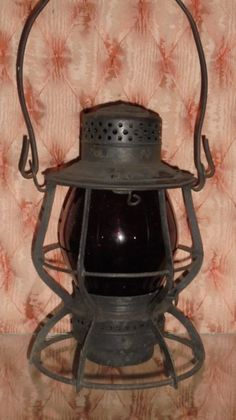 Antique Railroad Lantern Keystone Model 39 Pennsylvania PRR Tall Red Globe