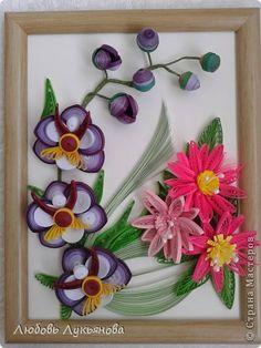 Картина панно рисунок Квиллинг И опять они-любимые орхидеи Бумажные полосы фото 4