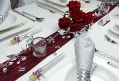 Mustertisch zur Silberhochzeit 10 - Tischdeko-online mit Gastgeschenken, Streudeko und Tischbändern