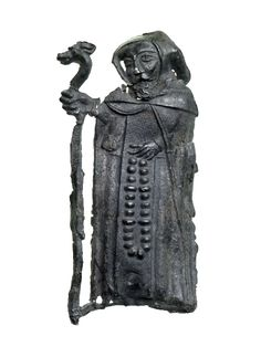 Pilgrim Badge, probably from the shrine of St Jos at Saint-Josse-sur-Mer, France. Born the son of a king of Brittany in the 7th century, Jos gave up his wealth and position to go on a pilgrimage to Rome. He then became a hermit in a monastery near Étaples, which was later named after him as Saint-Josse-sur-Mer.  His hermitage became a popular stopping point for English pilgrims after arriving in France on the way to more distant shrines; late 14th century