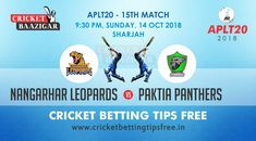 Today Cricket Baazigar Provide Match Prediction and Cricket Betting Tips Free Nangarhar Leopards vs Paktia Panthers. All fans of cricket can also get free updates on the page www. Cricket Tips, Cricket Match, Sharjah, Sports Betting, Fans, Leopards, Panthers, Gaming, Panther