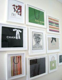 fun idea to frame your designer shopping bags!