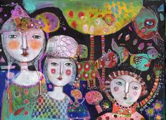 Mixed Media Painting Original Modern Folk Art  Expressive quirky creatures people outsider canvas