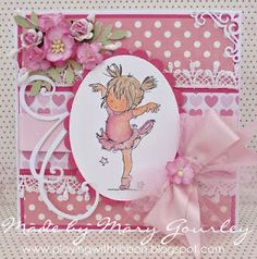 For my card I coloured this gorgeous little dancer (from the new range of Lili of the Valley stamps)