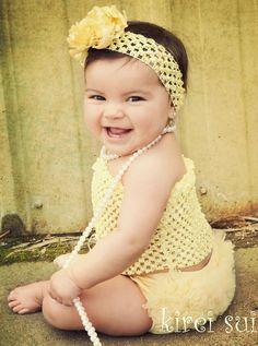 Baby Girls Yellow Crochet Tube Top for Pettiskirt Tutu