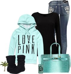 "I love ""love pink"" outfits! Teen Fashion, Love Fashion, Winter Fashion, Fashion Outfits, Pink Outfits, Cute Outfits, Fall Winter Outfits, Winter Clothes, Swagg"