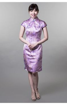 Cheongsam (Purple base and trimming with pale yellow & purple bamboo leaves prints) - Pico & Poco