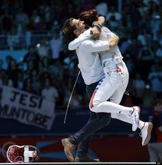 Italy's Elisa Di Francisca after winning the Women's Gold Medal Fencing Match.