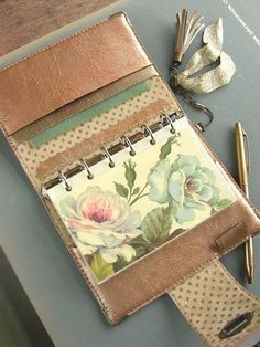 leather binder - hand stitch - enamel,  peach orange pink, rose gold - ooak